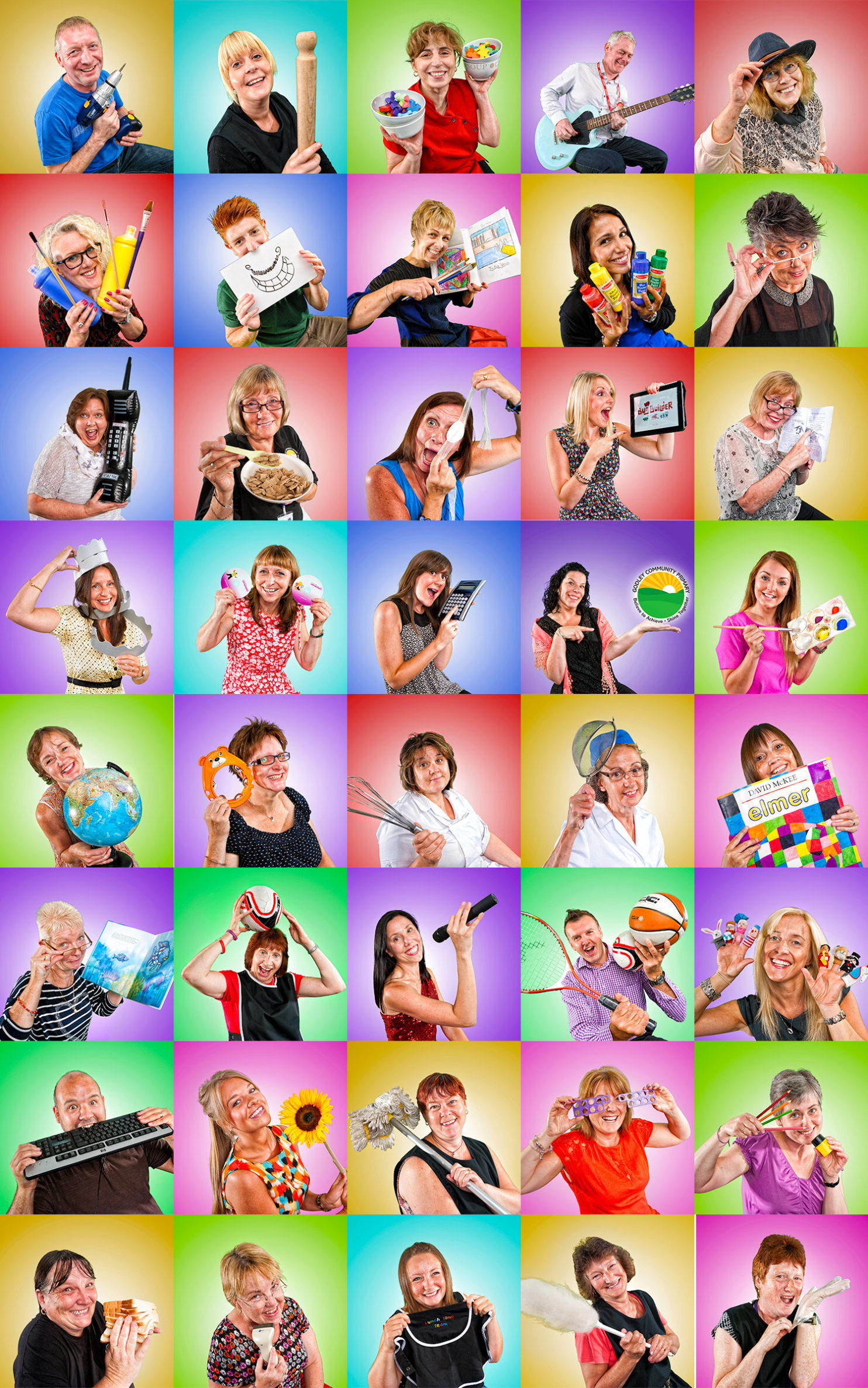 collection of fun primary school staff portraits.