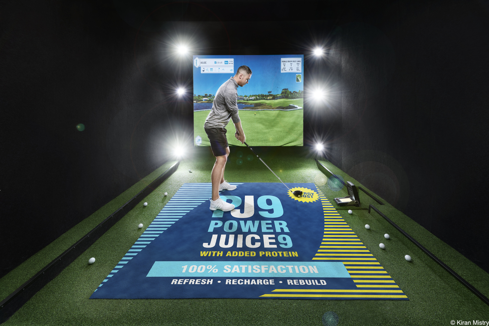 inside a golf simulation room