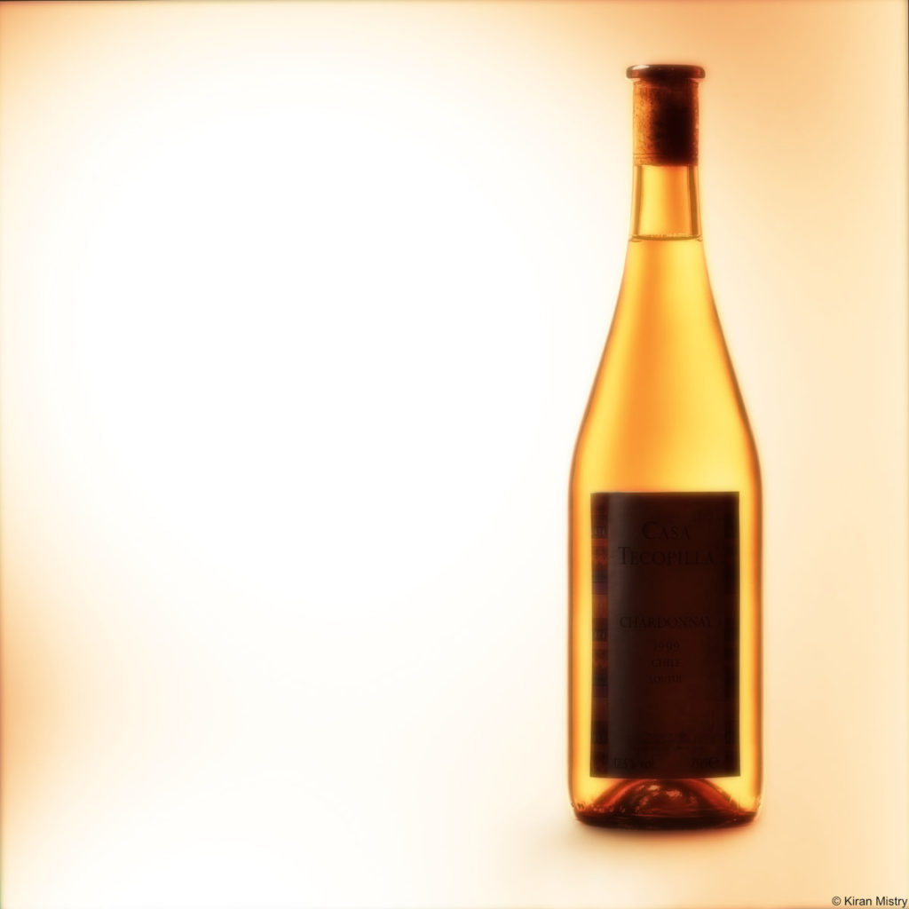 white wine bottle tinted a bronze colour