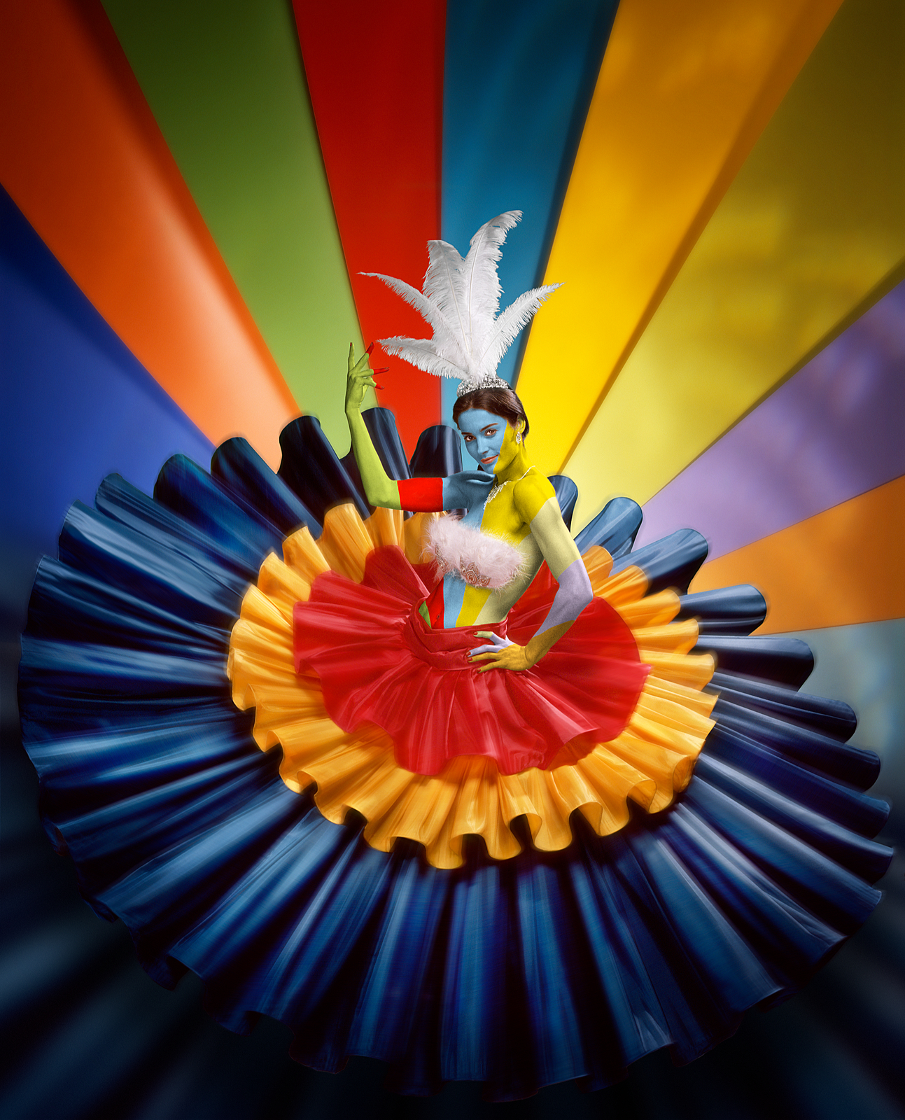 concept of girl in a wide colourful dress representing the rio carnival with a rainbow of colours behind